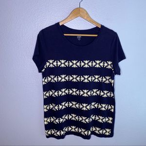 Crown and Ivy Navy Bee Tee Size Large